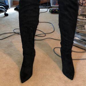 Over the Knee Black Heels, 4'' heel (Never worn)